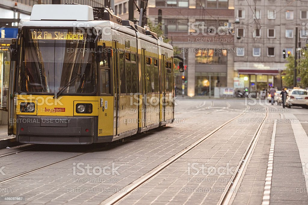 View of U-bahn yellow tram parked on the GontardStrasse stock photo