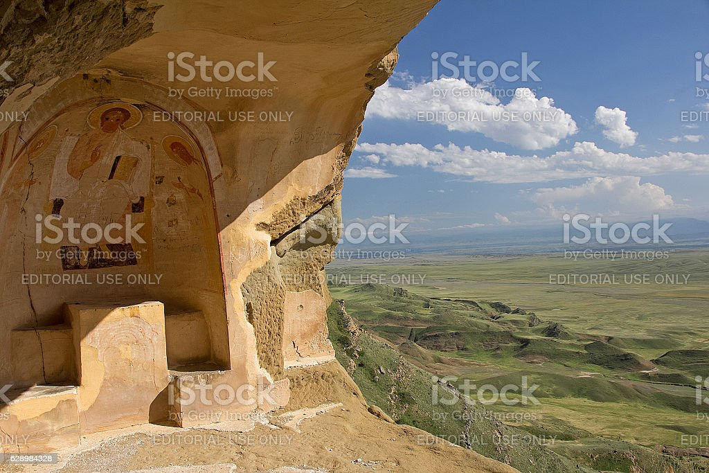 View of Udabno monastery and landscape stock photo