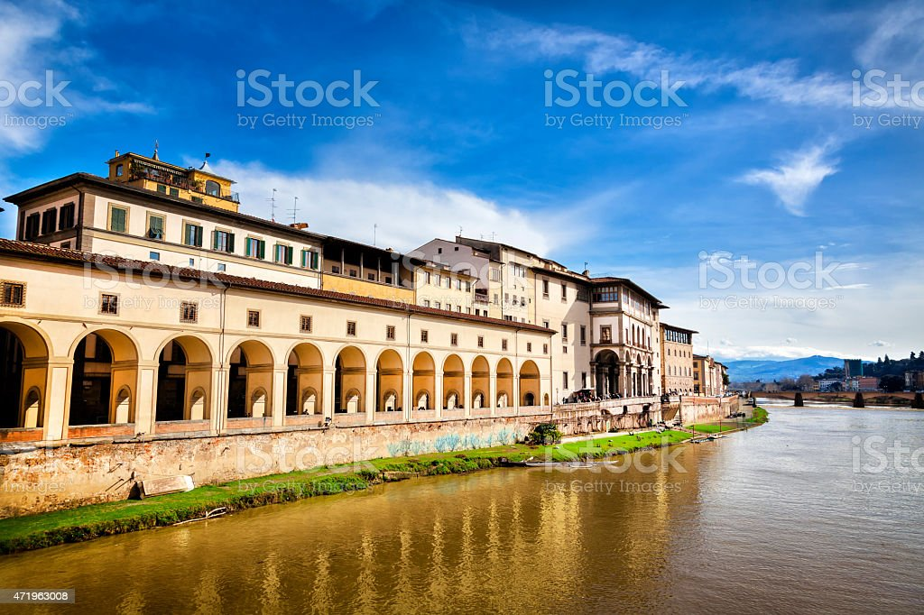 View of Uffizi Gallery from Ponte Vecchio, Florence, Italy stock photo