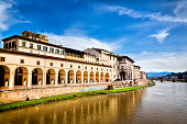 View of Uffizi Gallery from Ponte Vecchio, Florence, Italy