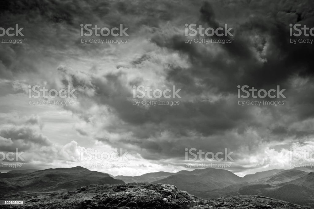 View of Ullswater in Cumbria. stock photo