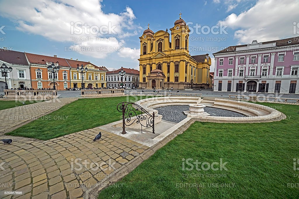 View of Union Square in Timisoara, Romania, with old buildings stock photo
