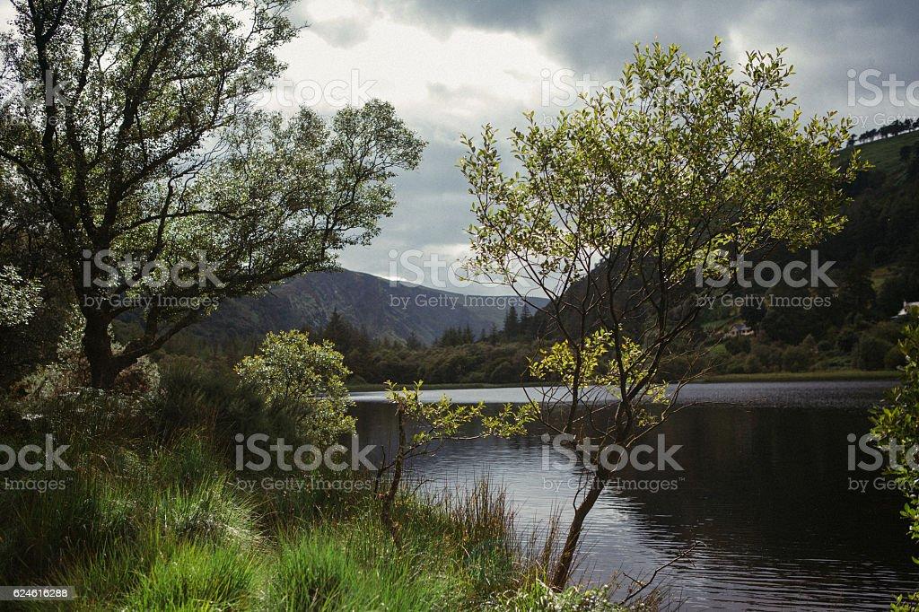 View of Upper Lake at Glendalough, Ireland stock photo