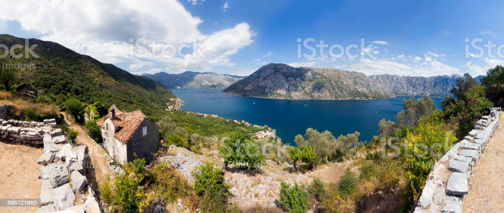 View of Upper Stoliv village and Bay of Kotor stock photo