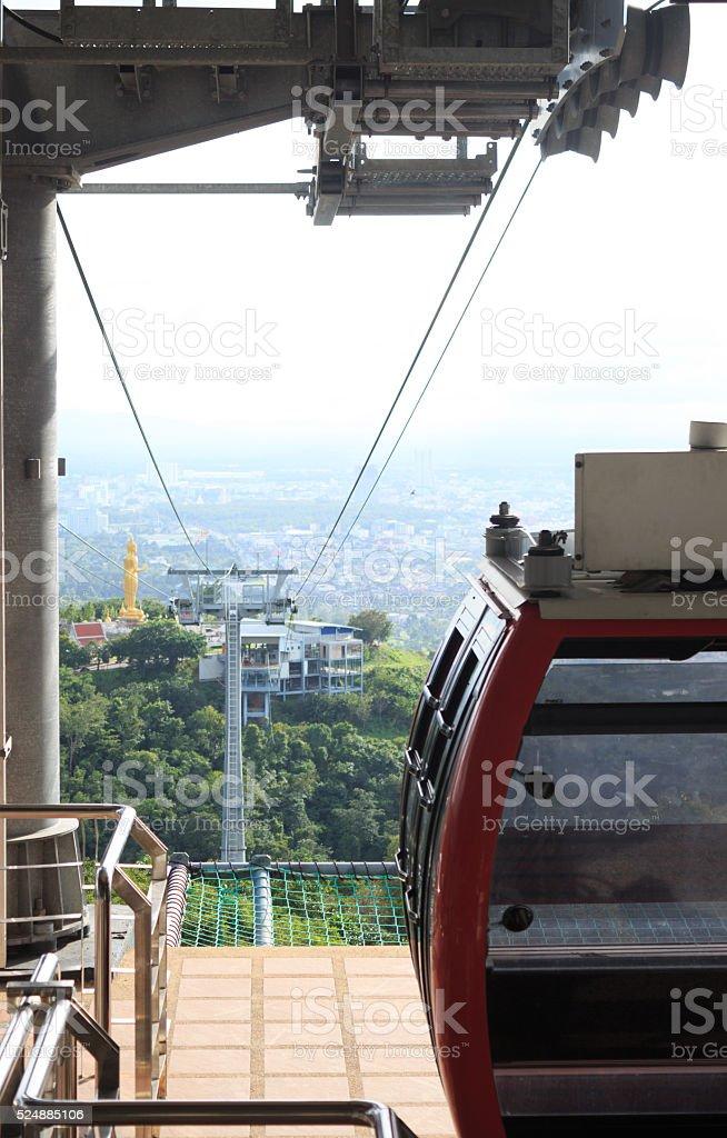 Вид городской город с Канатная дорога, Hadyai Таиланд Стоковые фото Стоковая фотография
