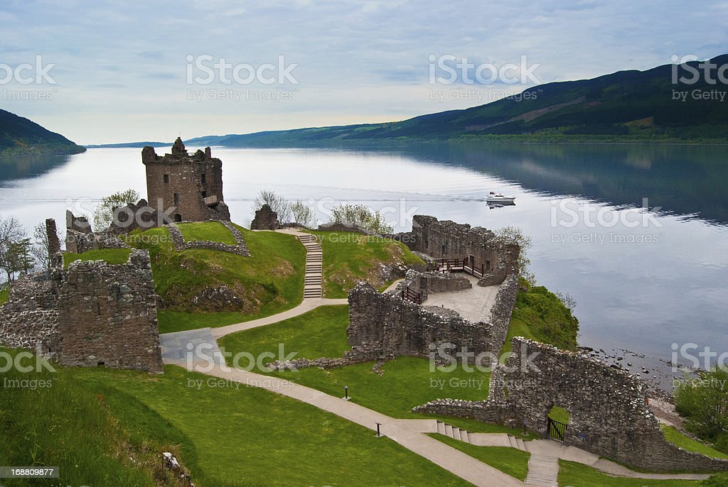 View of Urquhart Castle on a nice day stock photo