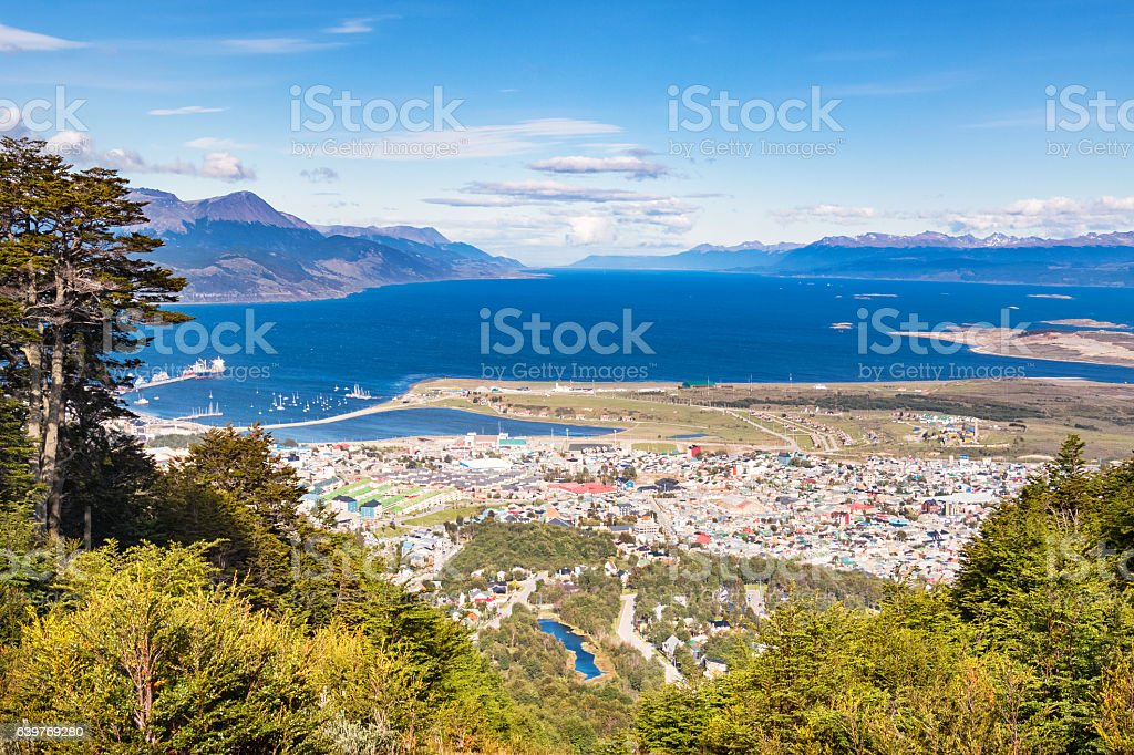 View of Ushuaia and Beagle Channel Tierra del Fuego Argentina stock photo