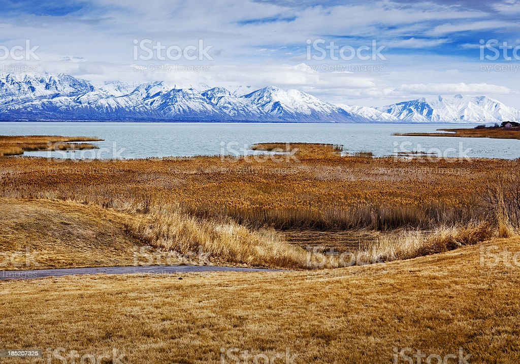 View of Utah Lake and the Wasatch Mountains stock photo