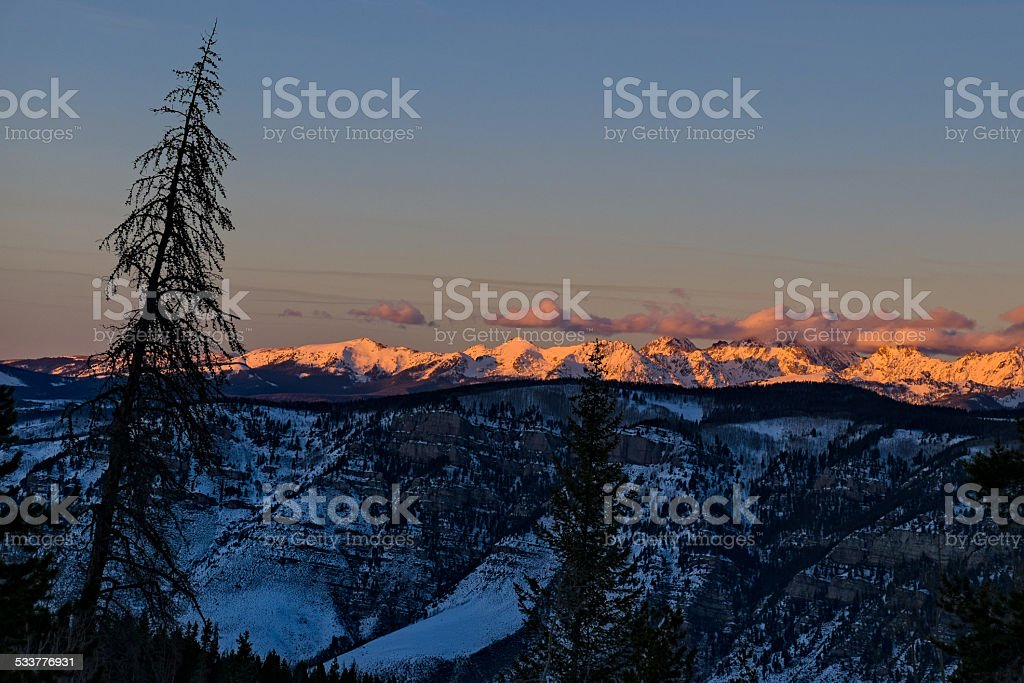 View of Vail Back Bowls and Gore Range Mountains stock photo