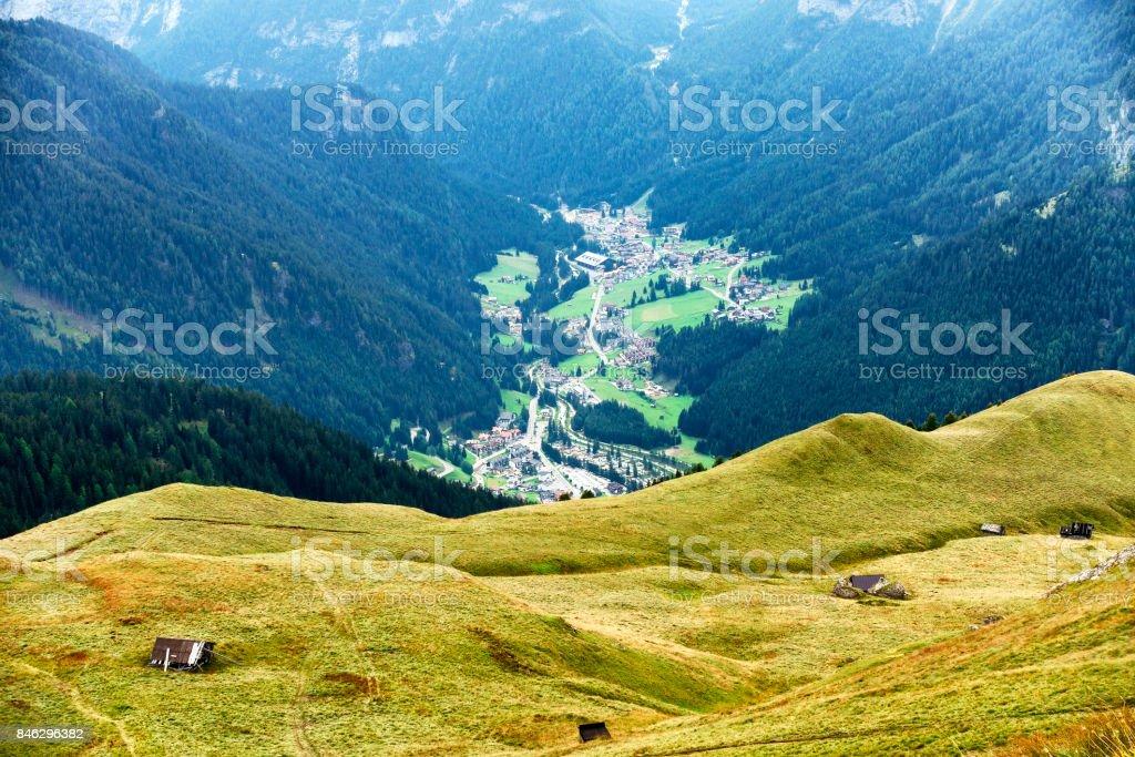 View of Val di Fassa from Col Rodella, Dolomites Alps, Italy stock photo