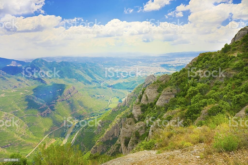 View of valley and Montserrat Monastery, Catalonia, Spain stock photo