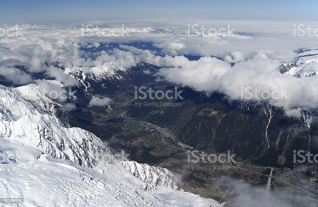 View of valley Chamonix from above, the Alps, Mont Blanc royalty-free stock photo