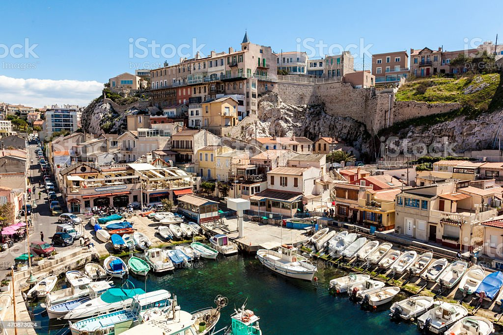 View of Vallon des Auffes, picturesque old-fashioned little fish stock photo