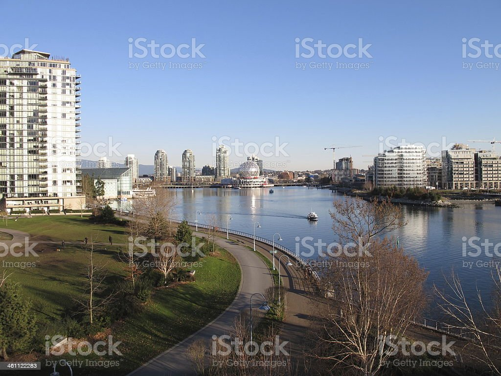 View of Vancouver, Canada, from Cambie Bridge royalty-free stock photo