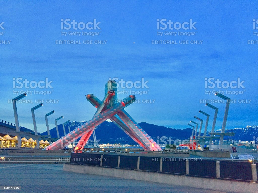 View of Vancouver's Olympic Caldron in Coal Harbor stock photo