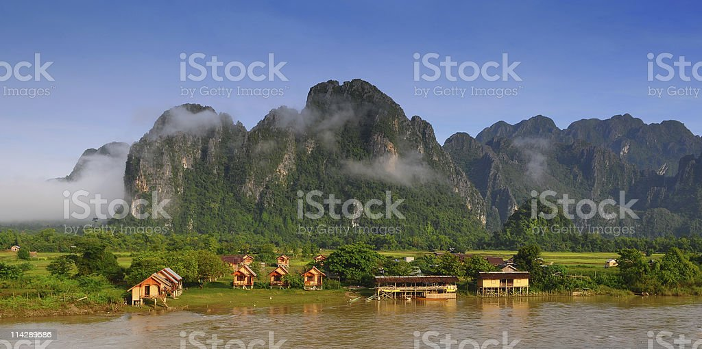 View of VangVieng, Laos stock photo