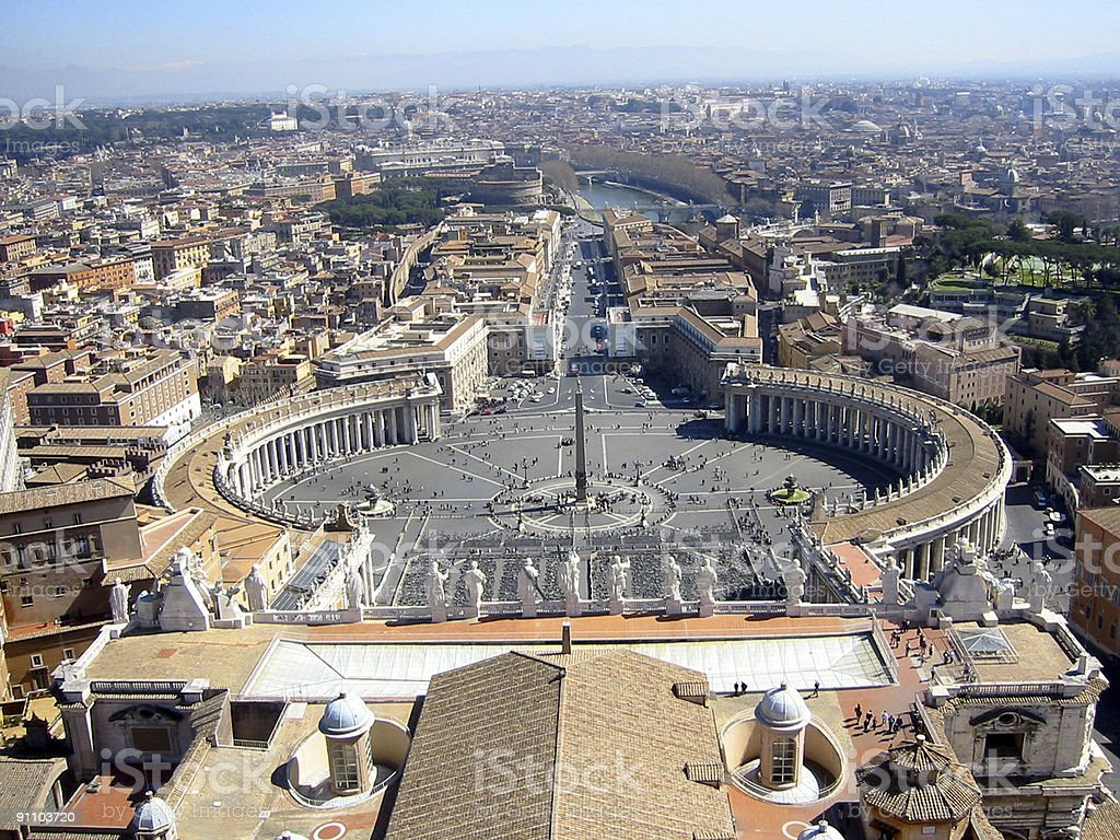 View of Vatican City from St. Peter's Basilica stock photo