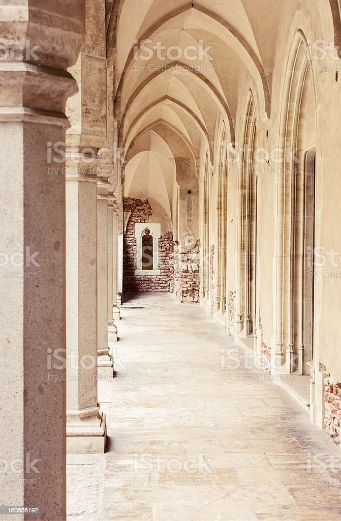 View of vaulted corridor and marble floor royalty-free stock photo