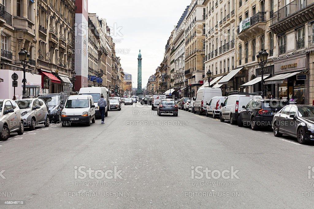 view of Vendome column from Rue de la Paix, Paris royalty-free stock photo