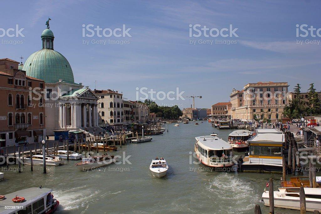 View of Venice from Ponte degli Scalzi stock photo