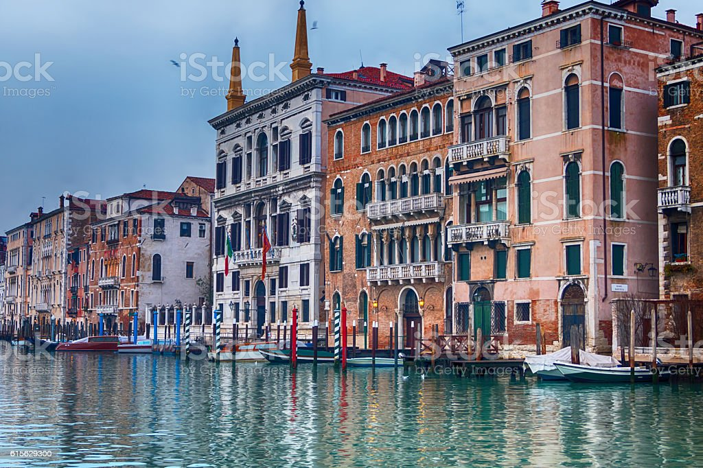 View of Venice, Italy and Grand canal stock photo