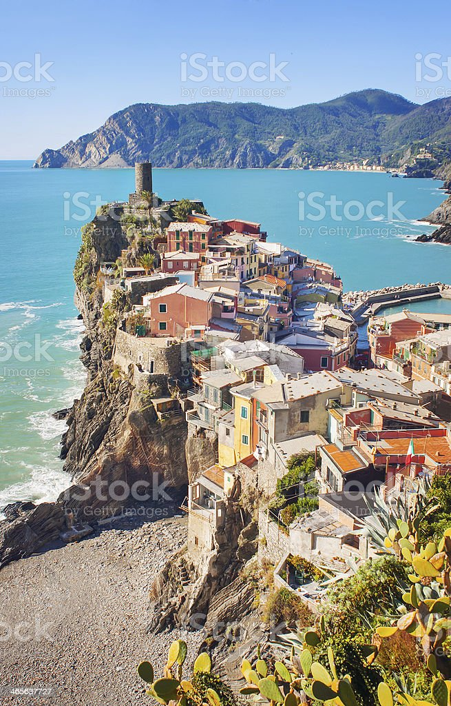 View of Vernazza, Italy stock photo