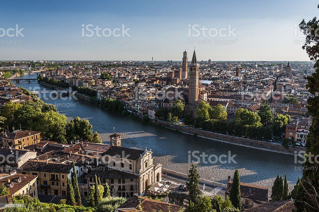 View of Verona across Adige river stock photo