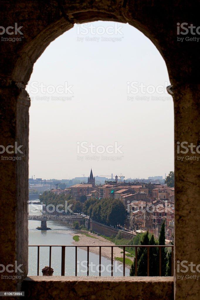 View of Verona from Castelvecchio stock photo