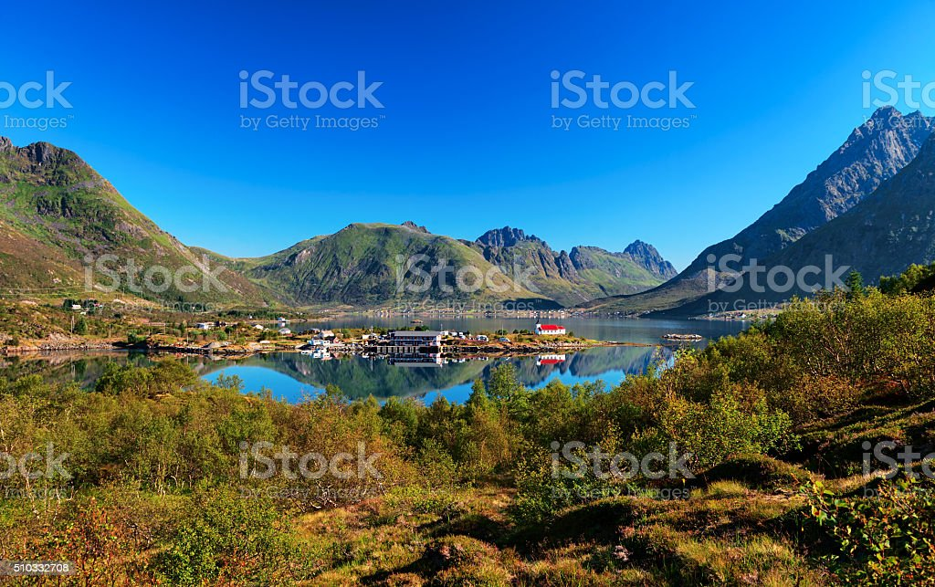View of Vestpollen in Austnesfjorden, Lofoten Islands, Norway stock photo