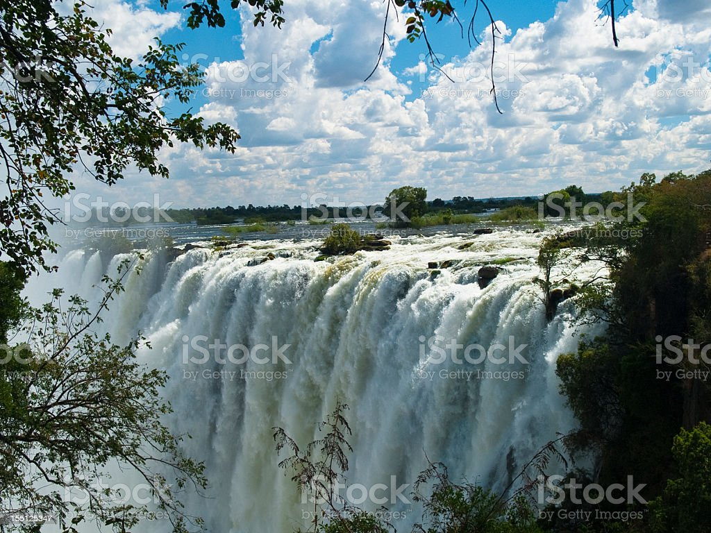View of Victoria falls on sunny, cloudy day stock photo