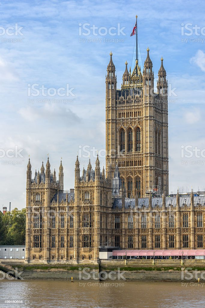 View of Victoria tower in London with copy space in sky stock photo