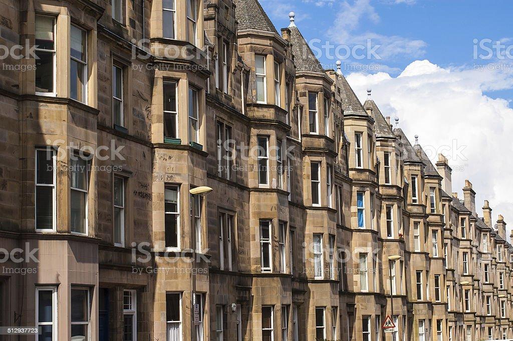 View of Victorian tenement housing stock photo