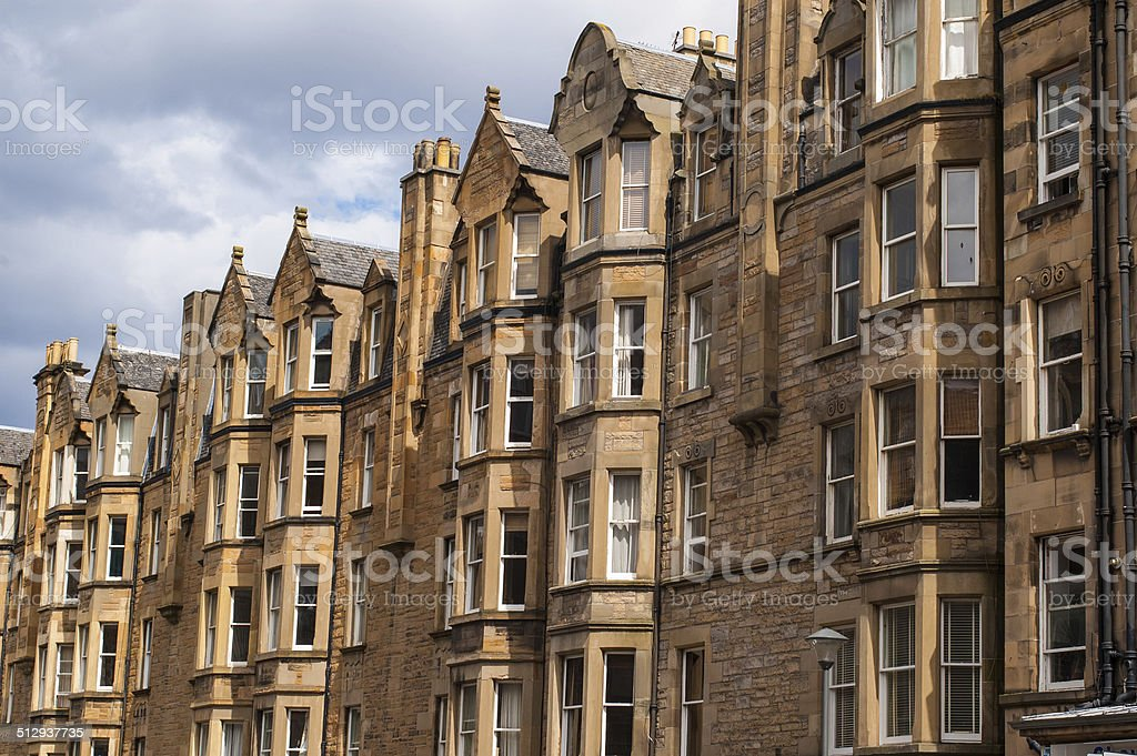 View of Victorian tenement housing stock photo