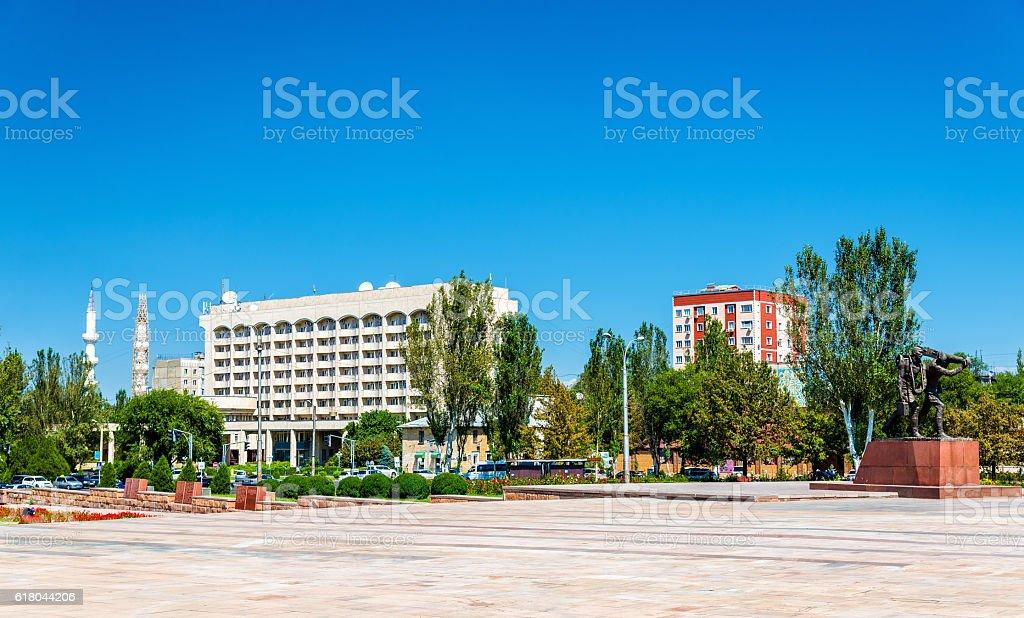 View of Victory Square in Bishkek - Kyrgyzstan stock photo