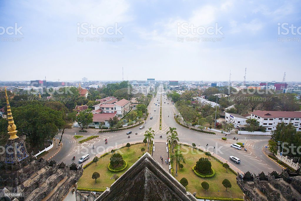 View of Vientiane from Victory Gate Patuxai, Laos, Southeast Asi royalty-free stock photo