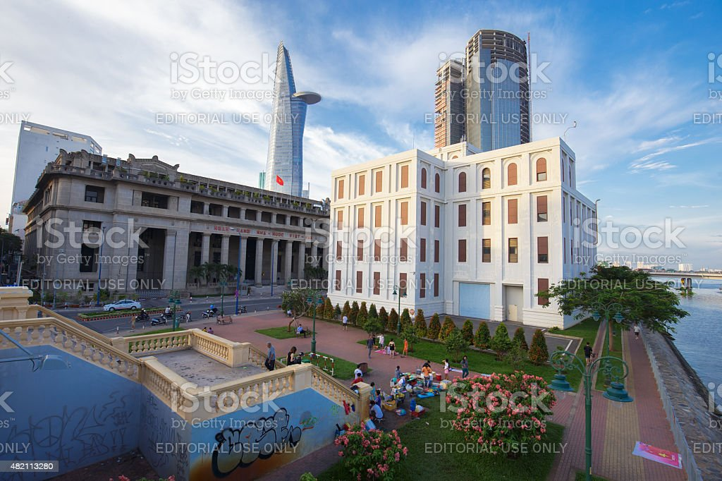 View of VietNam bank in Sai Gon royalty-free stock photo