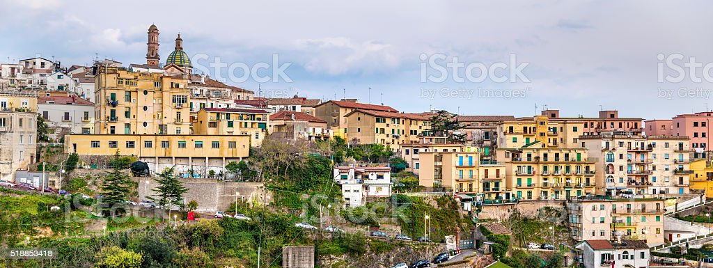 View of Vietri Sul Mare town on the Amalfi coast stock photo