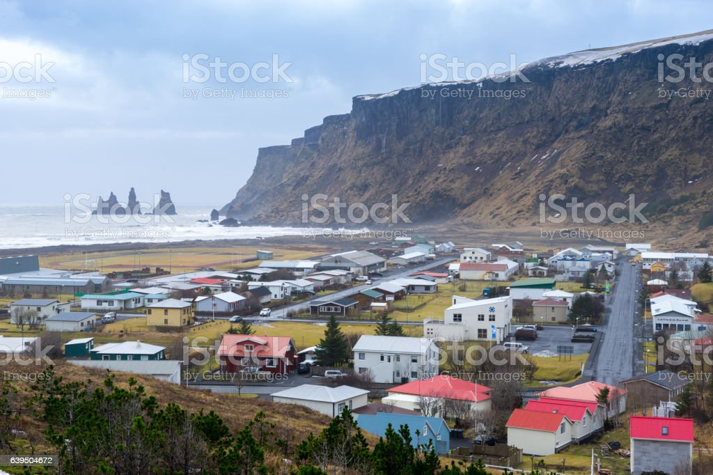 View of Vik City, Iceland stock photo