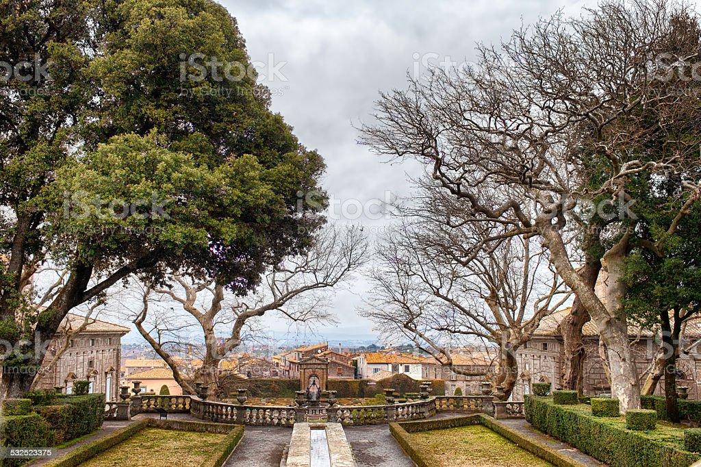 View Of Villa Lante Gardens Bagnaia Italy stock photo
