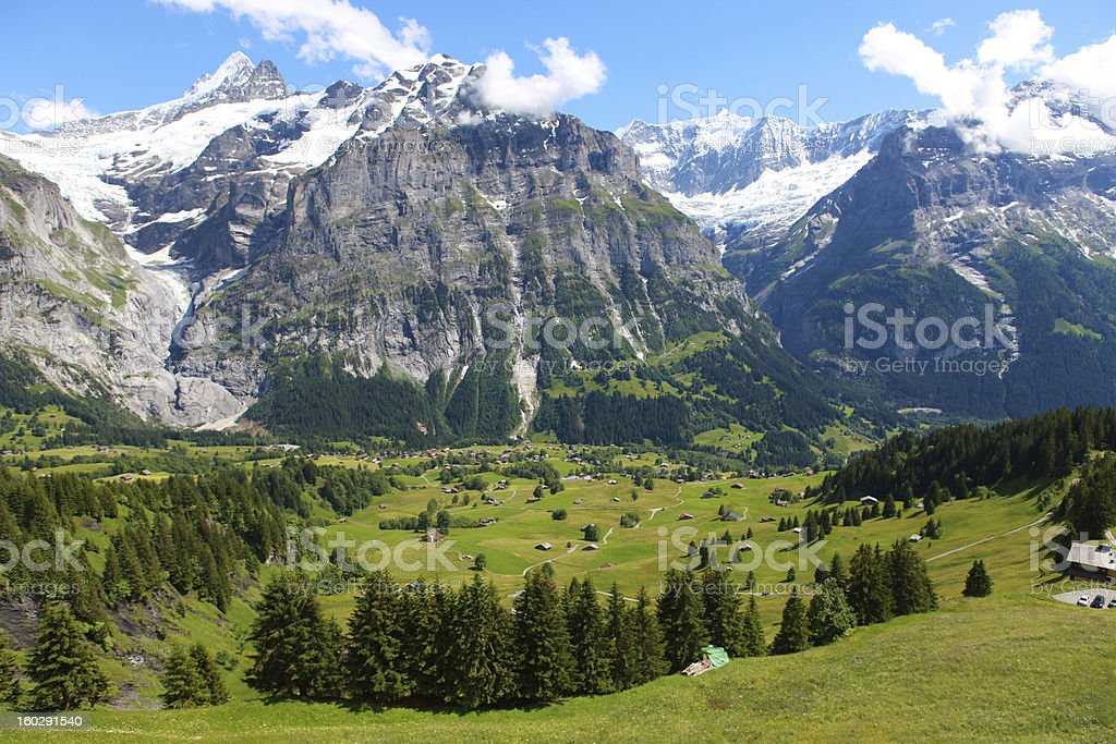 view of village First, Switerland stock photo