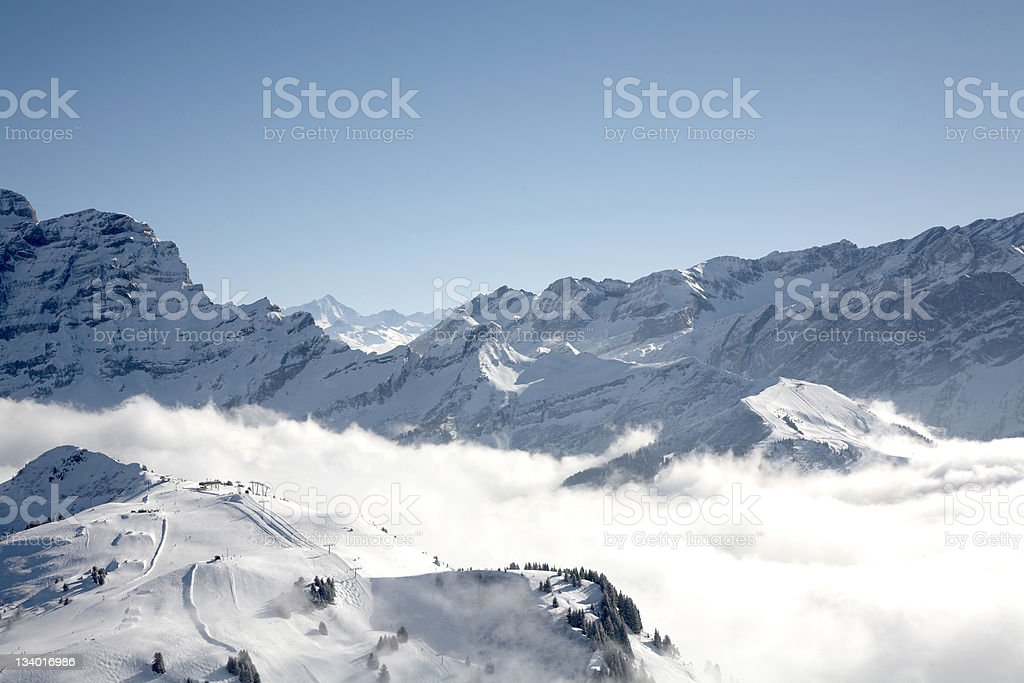 view of villars ski slopes royalty-free stock photo