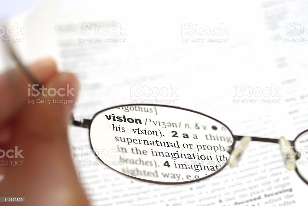 View of vision dictionary entry as seen through glasses royalty-free stock photo