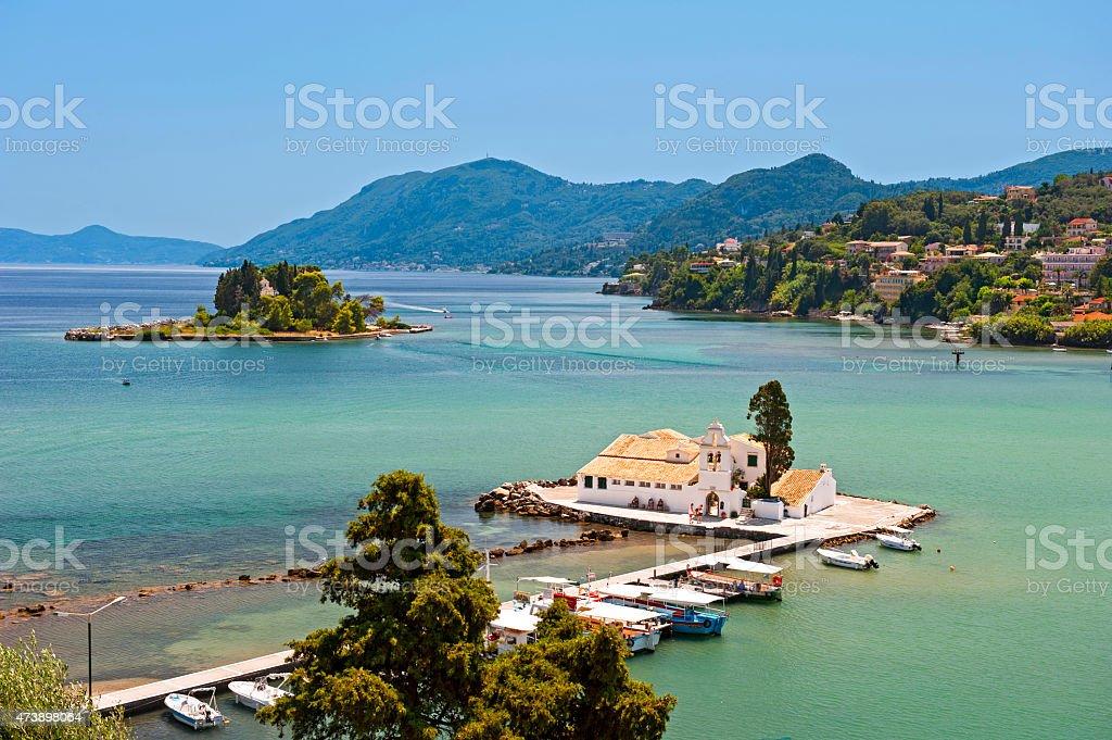 View of Vlacherna monastery and mouse island on Corfu stock photo