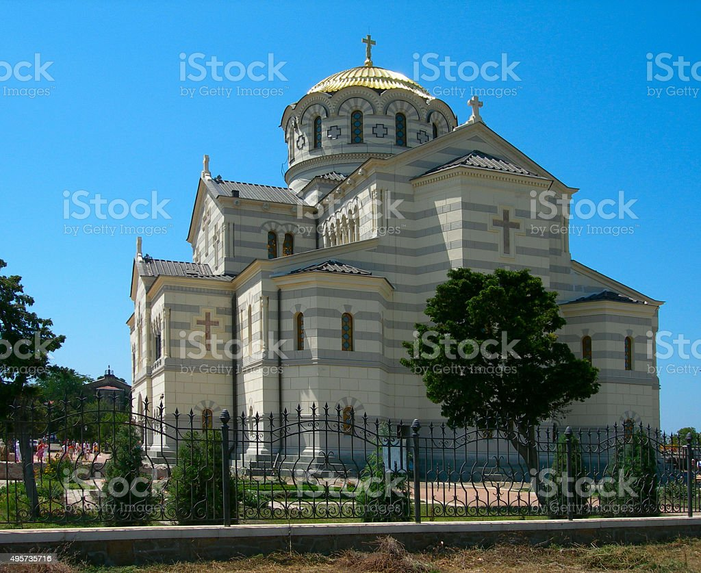 View of Vladimir Cathedral in Tauric Chersonesos, Sevastopol, Crimea, Russia stock photo
