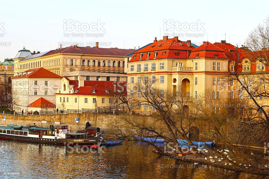 View of Vltava river and historical city centre in Prague stock photo