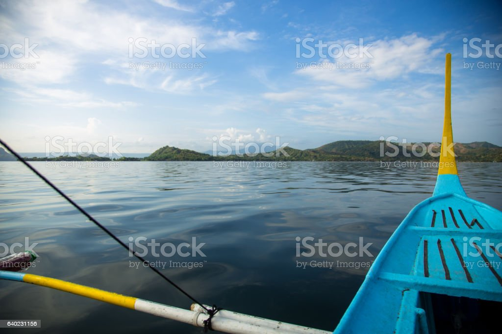 View of Volcano Island from Lake Taal Boat stock photo