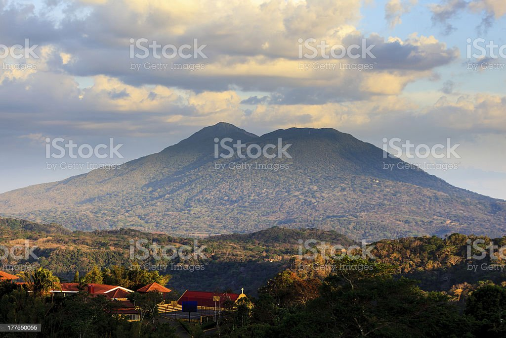 View of volcano Mombacho from Catarin mirador in Nicaragua. stock photo