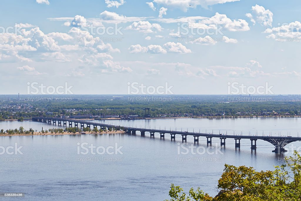 View of Volga and automobile bridge from observation deck stock photo