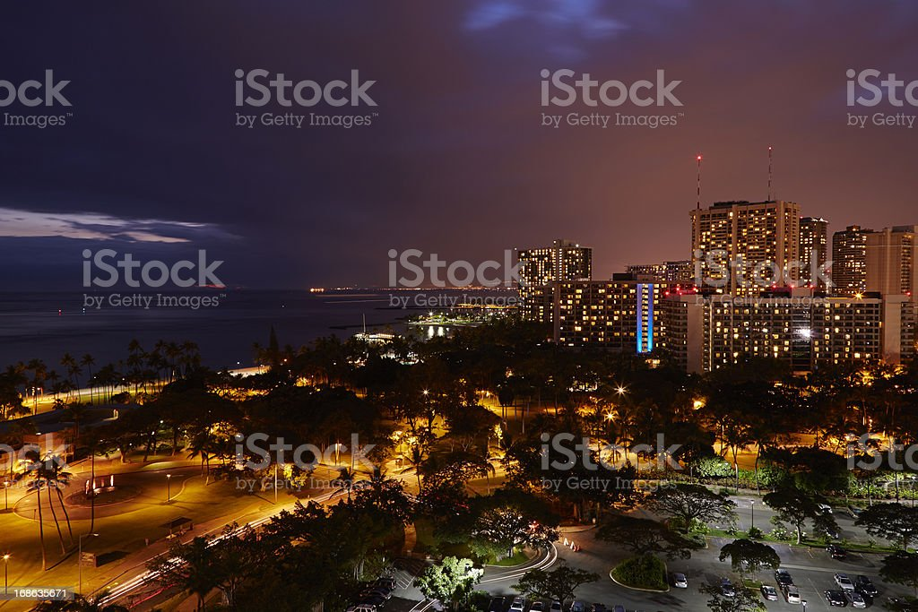 View Of Waikiki Beach Over Fort DeRussy Museum royalty-free stock photo