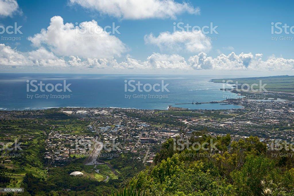 View of Wailuku and Kahului, Maui, Hawaii, USA stock photo